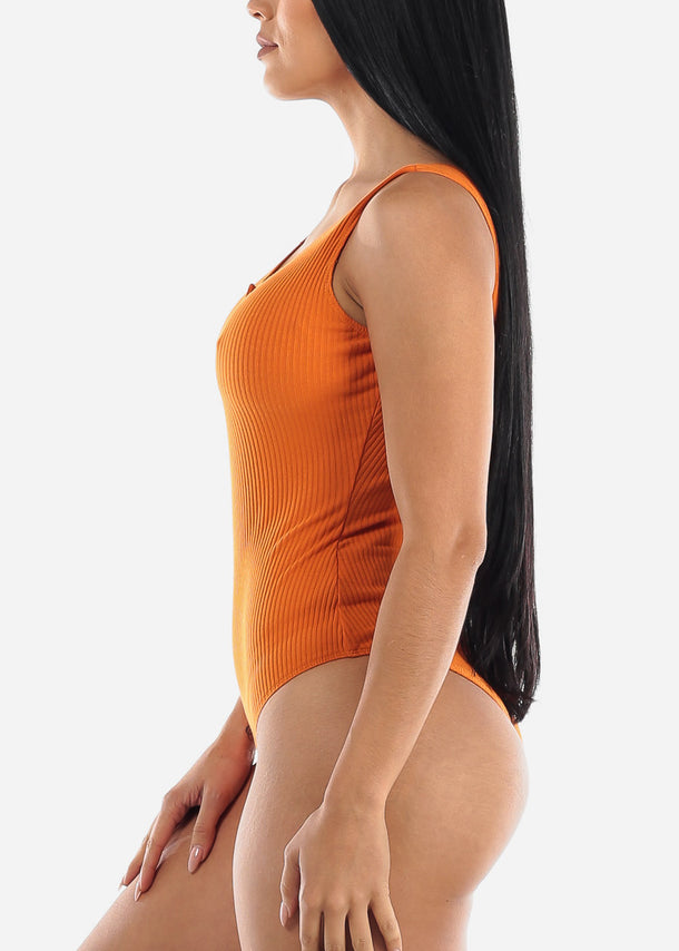 Sleeveless Ribbed Orange Bodysuit