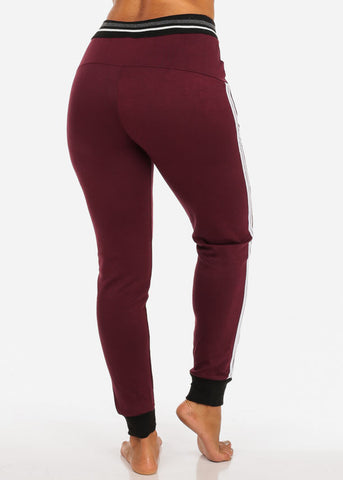 One Size Activewear High Waisted Drawstring Burgundy Jogger Pants W Stripe Sides