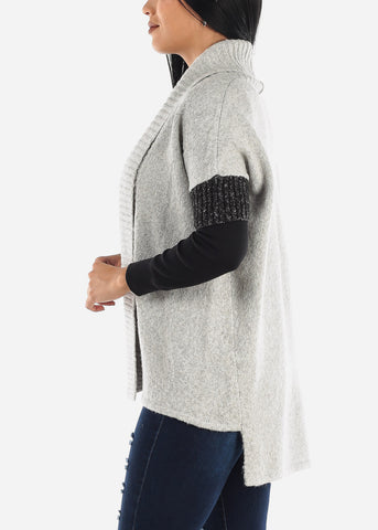 Grey Short Sleeve Knit Cardigan