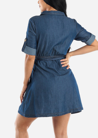 Image of Casual Dark Wash Denim Dress