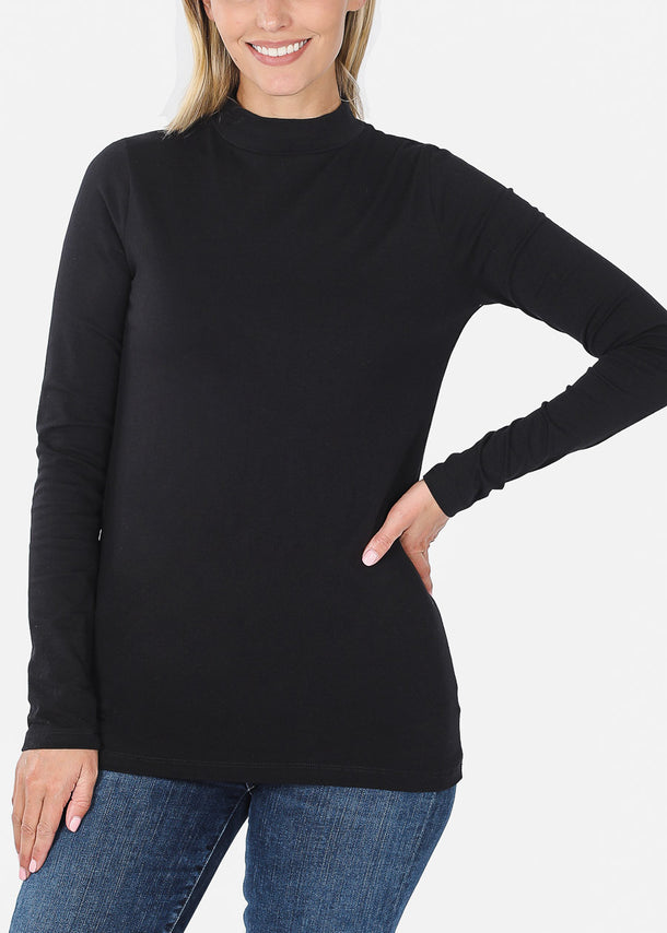 Cotton Mock Neck Black Top