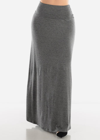Image of Foldover Waist Charcoal Maxi Skirt