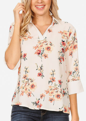 3/4 Sleeve Floral White Blouse