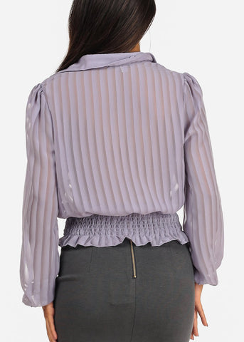 Image of Long Sleeve Elastic Hem Button Up Lavender Blouse Top