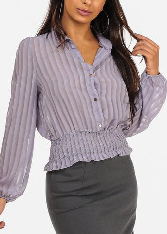 Long Sleeve Elastic Hem Button Up Lavender Blouse Top