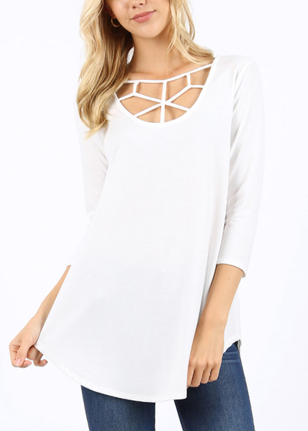 Web Detail Ivory Tunic Top