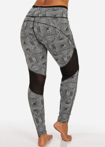 Activewear White And Black Sheer Mesh High Rise Print Leggings