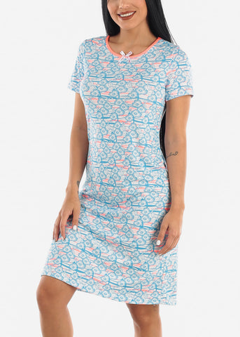 Image of Blue Floral Sleepwear Dress