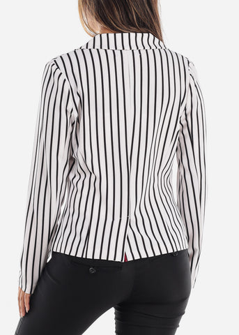 Trendy White Stripe Blazer
