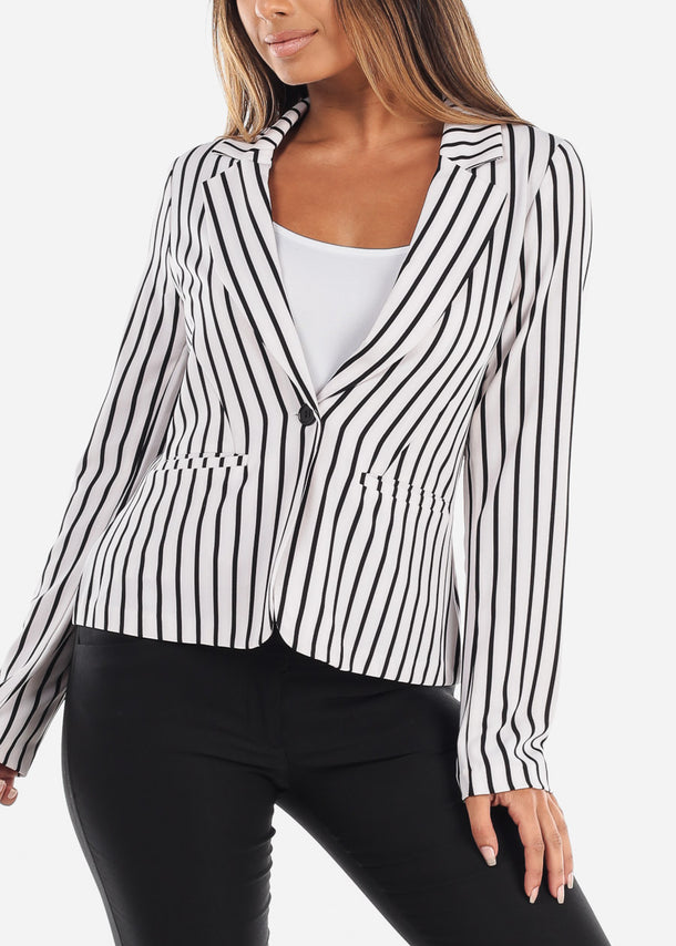 Stylish White Stripe Long Sleeve Office Business Wear One Button Blazer
