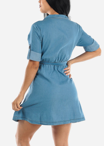 Image of Casual Light Wash Denim Dress