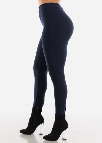 Image of Dressy Butt Lifting Navy Skinny Pants