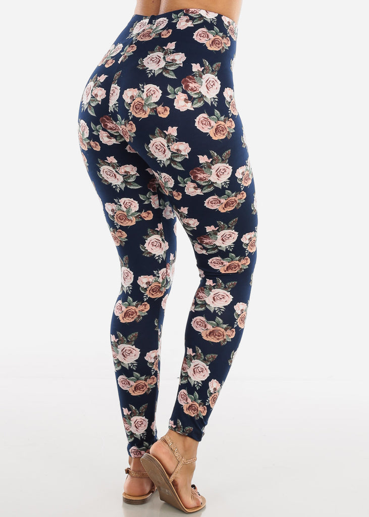 Pink Rose Print Navy Leggings L136PNKNVY