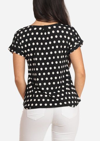 Women's Junior Ladies Casual Dressy Short Sleeve Polka Dot Print Black Blouse Top