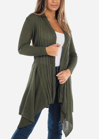 Image of Crochet Back Asymmetric Olive Cardigan