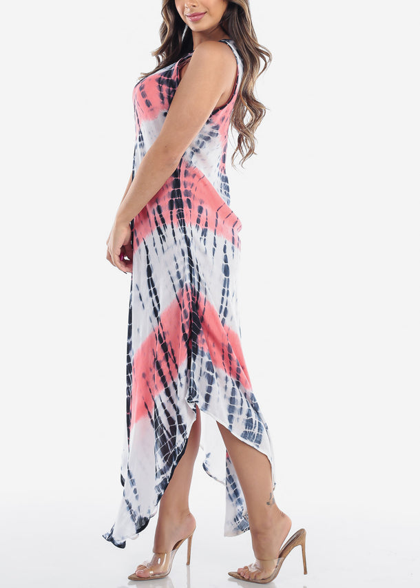 Lightweight Coral Tie Dye Maxi Dress