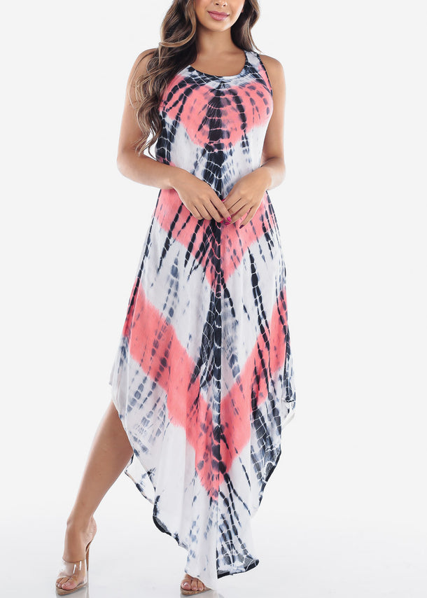 Women's Junior Ladies Summer Vacation Sleeveless Racerback Tie Dye Round Hem Coral Maxi Dress