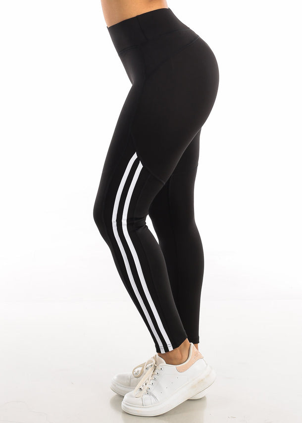 Activewear White Side Stripe Black Yoga Pants