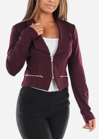 Image of Stylish Long Sleeve Zip Up Office Business Wear Purple Moto Jacket