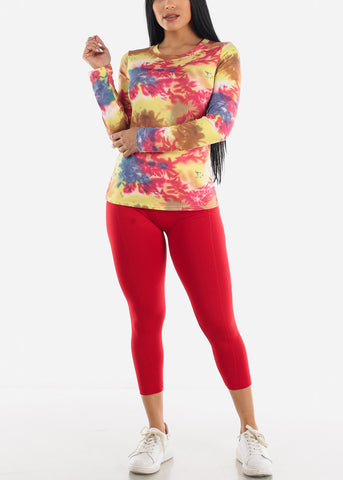 Image of Yellow Slip On Tie Dye Top