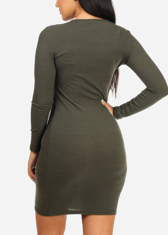 Image of Olive Bodycon Stretchy Dress
