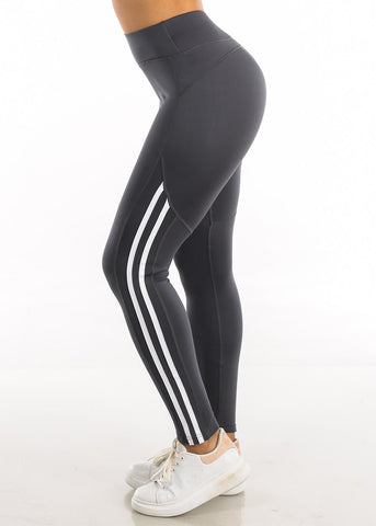 Image of Activewear White Side Stripe Grey Yoga Pants