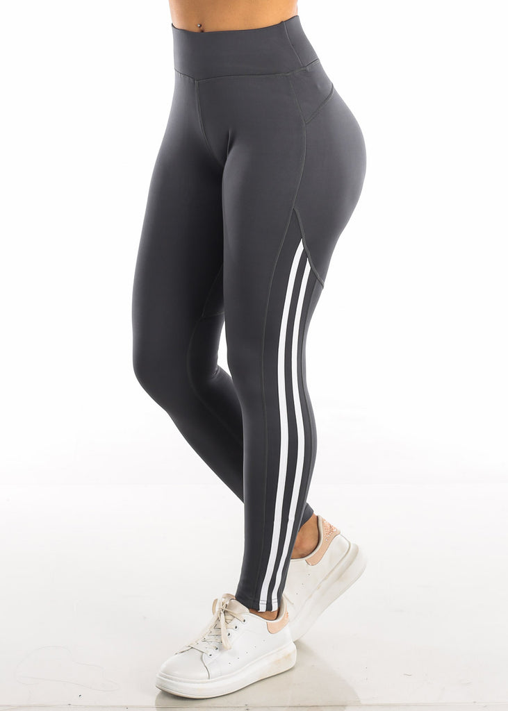 Activewear White Side Stripe Grey Yoga Pants