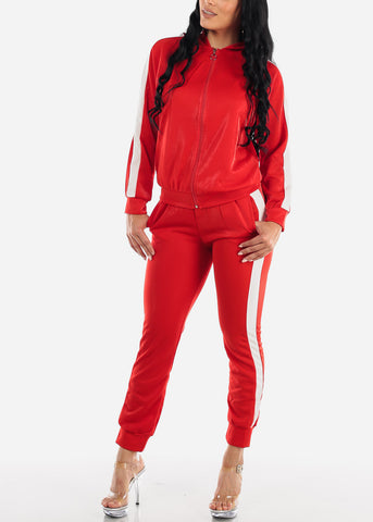 Image of Activewear Red Jacket & Pants (2 PCE SET)