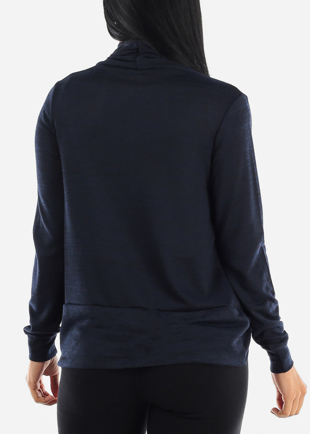 Long Sleeve Open Front Navy Cardigan