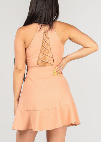 Image of Women's Junior Ladies Sexy Going Out Clubwear Party Night Out Stylish Wrap Front V Neckline Ruffle Detail Back Lace Up Salmon Above Knee Dress