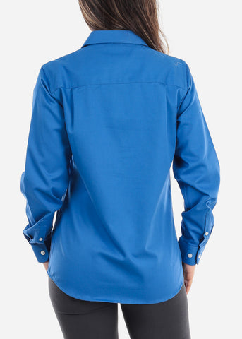 Image of Blue Teflon Button Down Shirt