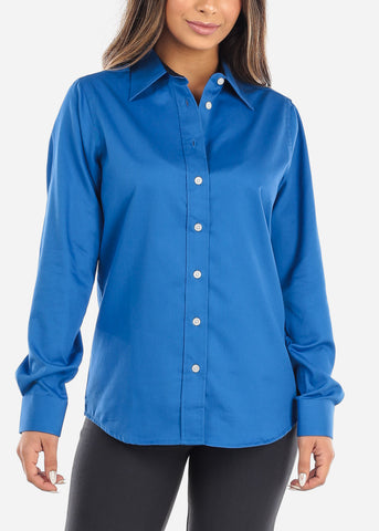 Blue Teflon Button Down Shirt