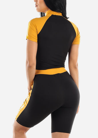 Colorblock Mustard Top & Biker Shorts (2 PCE SET)