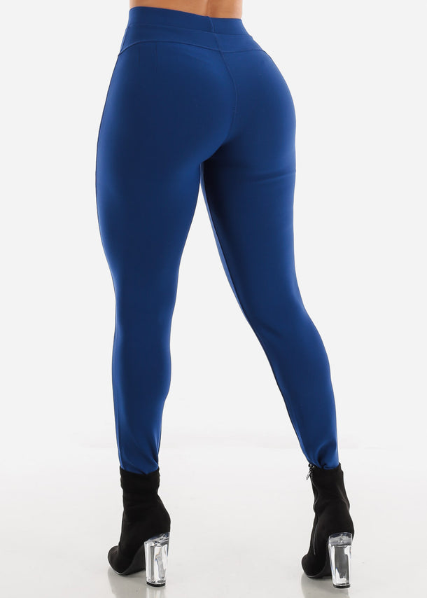 Dressy Butt Lifting Royal Blue Skinny Pants
