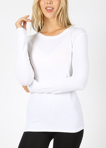 Basic Long Sleeve White Top