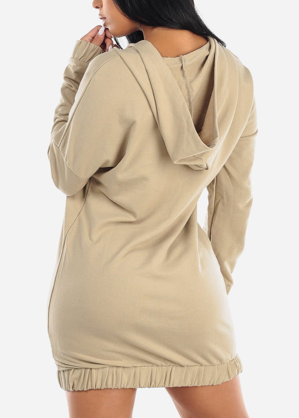 Asymmetric Front Zipper Khaki Sweater Dress