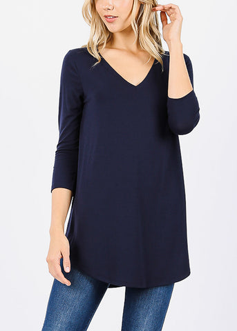 Navy Round Hem Tunic Top