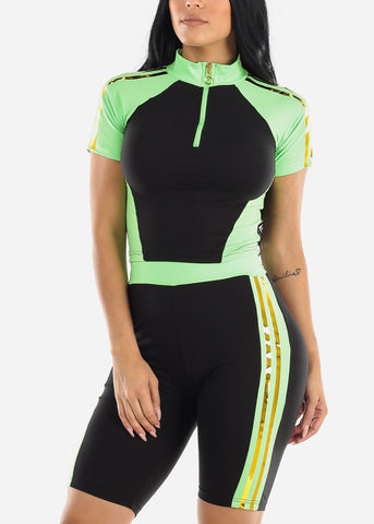Colorblock Neon Green Top & Biker Shorts (2 PCE SET)