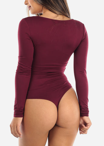 Wine Half Button Long Sleeve Bodysuit