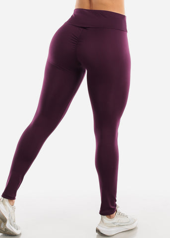 Image of Ruched Butt Activewear Purple Leggings