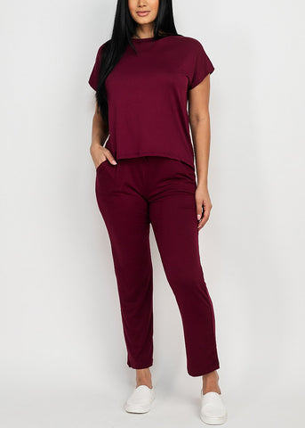 Women's Cute Burgundy Matching Set