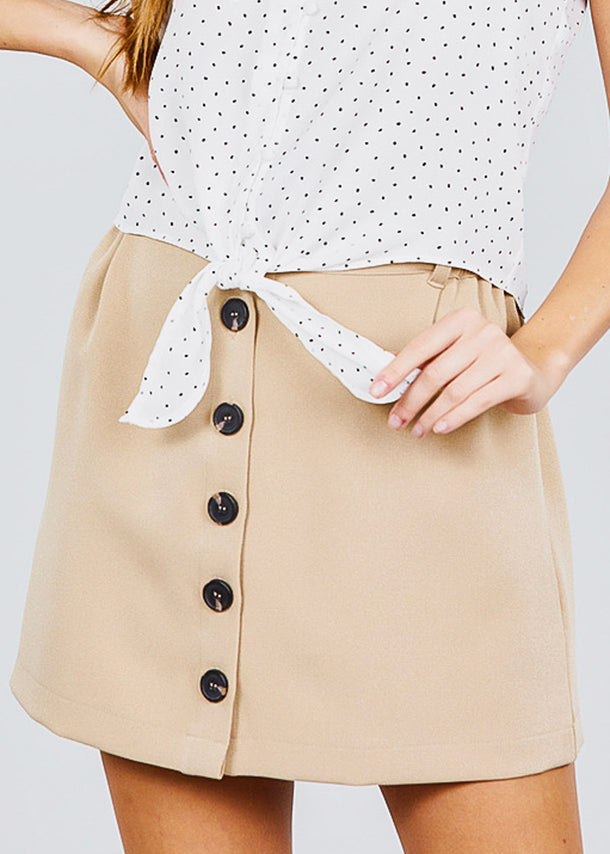 Button Down Khaki Mini Skirt