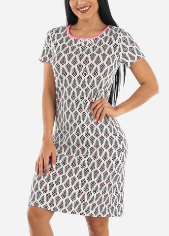 White Feather Print Sleepwear Dress
