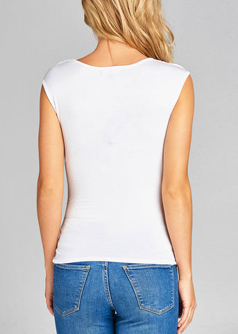 Stylish Sleeveless Cowl Neckline Shirred White Top