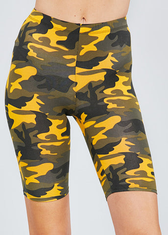 Image of Mustard Camouflage Biker Shorts