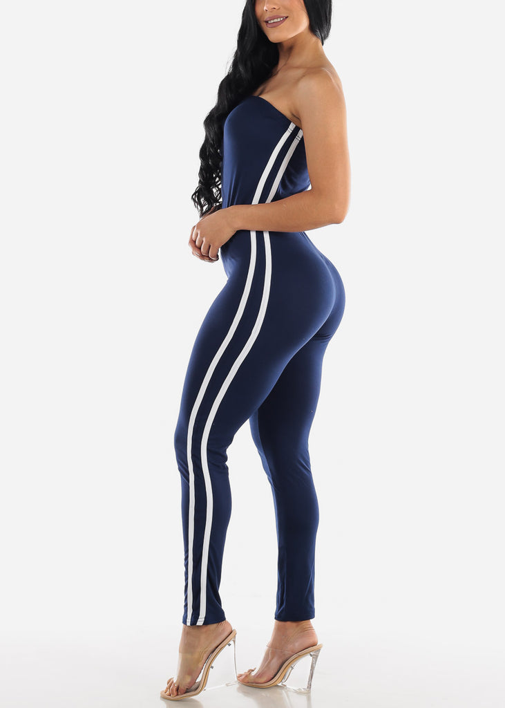 Side Striped Strapless Navy Jumpsuit