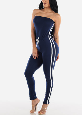 Image of Side Striped Strapless Navy Jumpsuit