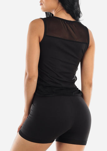 Mesh Detail Black Top & Shorts (2 PCE SET)