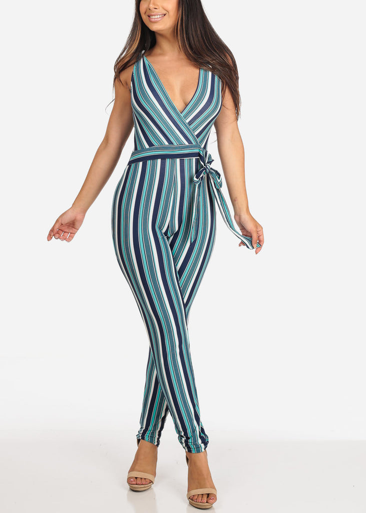 Women's Junior Ladies Sexy Going Out Night Out Party Clubwear Sleeveless Teal Navy And White Stripe Jumper Jumpsuit