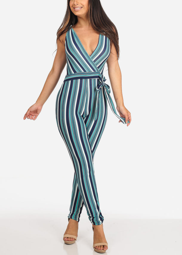 Teal Stripe Jumpsuit